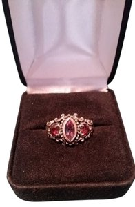 Amethyst and Garnet Ring in Elaborate Sterling Silver setting size 6