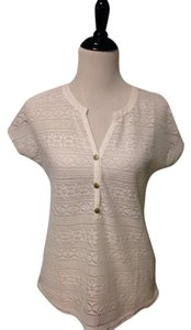 Sanctuary Beachwear Coverup Tunic See Through Woven Knit Top White