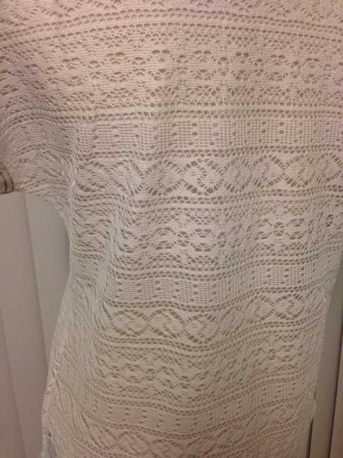 Sanctuary Clothing Beachwear Coverup Tunic See Through Woven Knit Top White