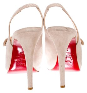 Christian Louboutin Hidden Platform Mary Jane Ankle Strap Beige Pumps