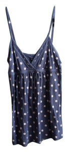 American Eagle Outfitters Polka Dot Empire Waist Top Blue