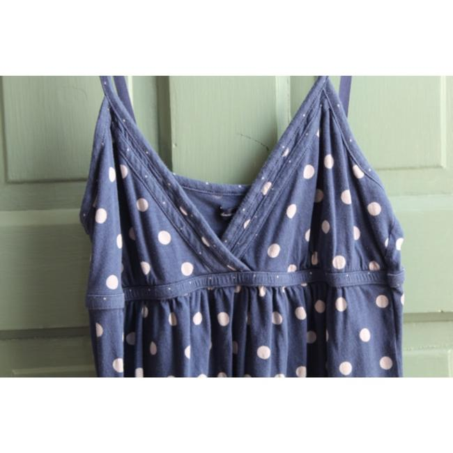 American Eagle Outfitters Polka Dot Empire Waist Spaghetti Strap Triangle Top Blue