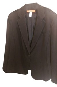 AK Anne Klein Blazer, AK Anne Klein, Dark Navy with Subtle Stripe - Classic Styling