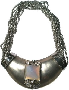 Alexis Bittar Alexis Bittar Silver Handcarved Lucite Neo Deco Centerpiece Necklace Faux Pearl Beaded Collar Bib Haute Couture Runway