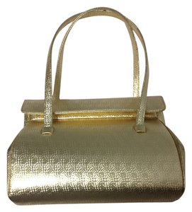 Saks Fifth Avenue Hand Leather Chic Satchel in Gold