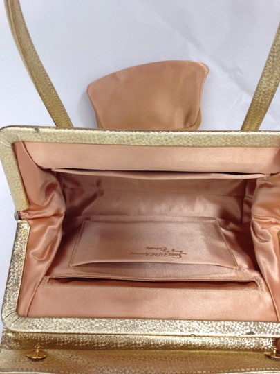 Saks Fifth Avenue Hand Leather Party Night Out Satchel in Gold