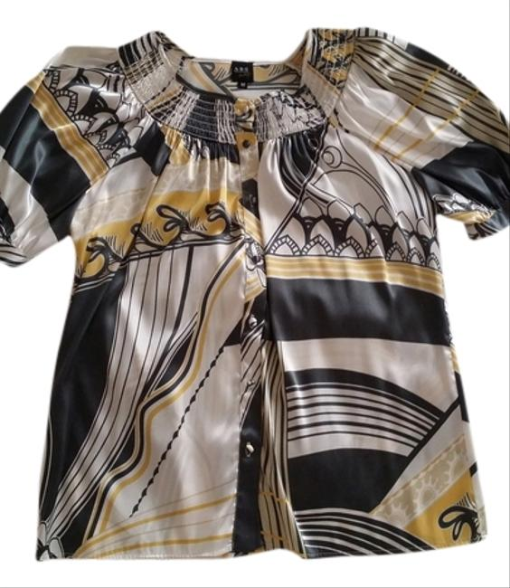 A.B.S. by Allen Schwartz Top Ivory,yellow,gray