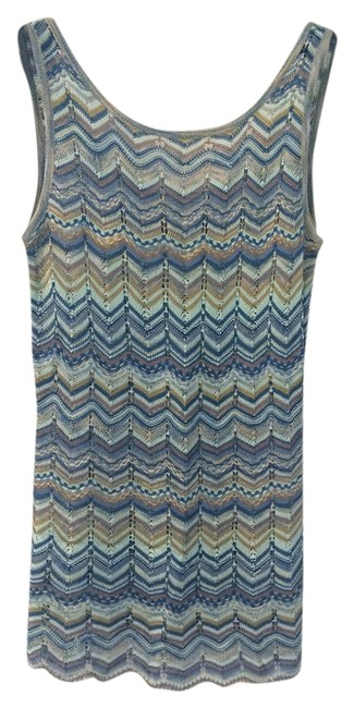 Item - Multi-shades Of Blue/White/Gold/Beige Sport Collection Tank Top/Cami Size 6 (S)