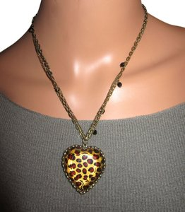 Betsey Johnson Authentic Leopard Heart Statement Necklace