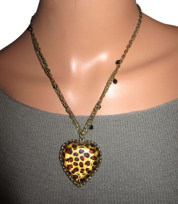 Item - Brown and Gold Leopard Heart Statement Necklace