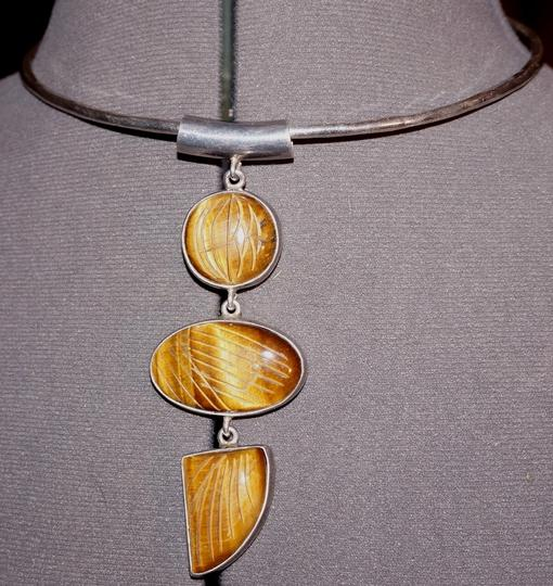 Sterling Vintage Artisan Sterling Carved Tigereye Modernist Pendant Necklace