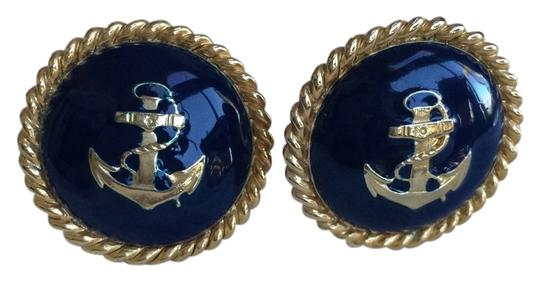 Other Gold Tone Anchor with Navy Clip on Earrings