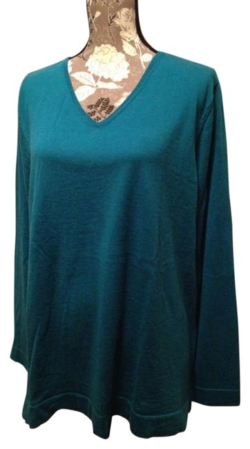 J. Jill Holiday Work Wear Casual V-neck Side Slits Relaxed Wool Merino Wool Jewel Tone Tunic Blue Boxy Sweater