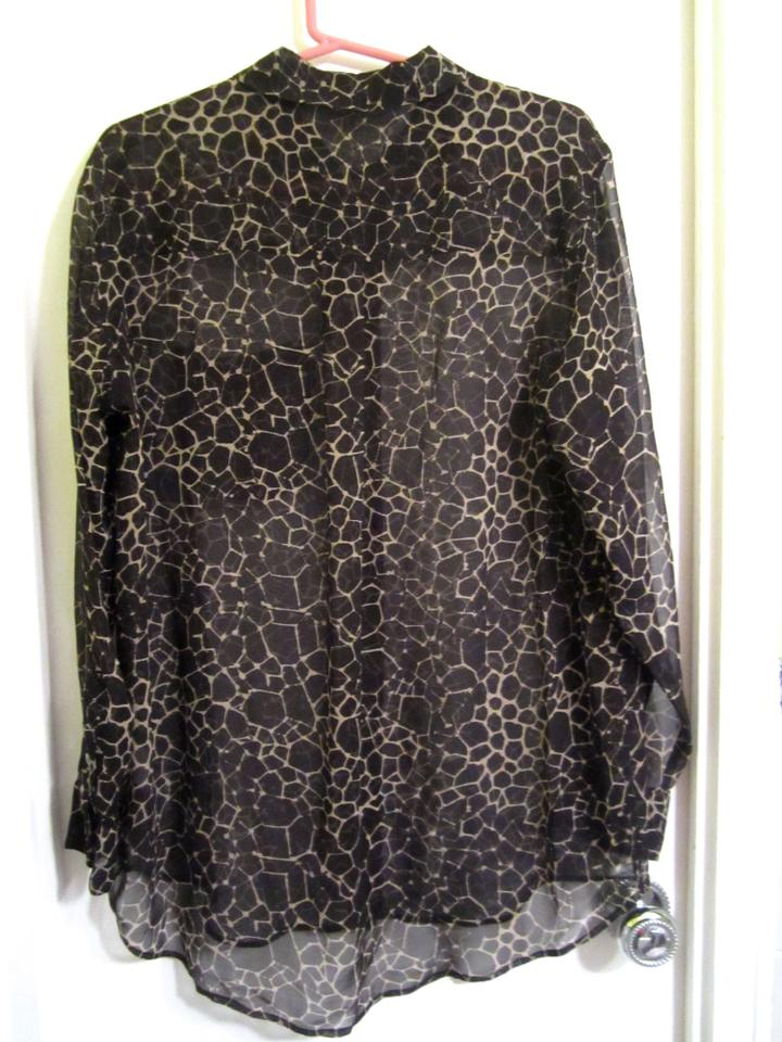 ec271d1294efed Equipment Black   Tan Silk Shirt Tunic Abstract Print Blouse. Size  12 ...