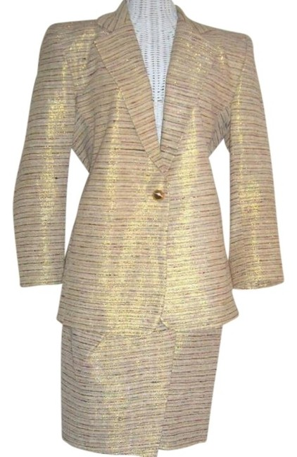 Preload https://item5.tradesy.com/images/icing-gold-lame-cream-nos-silk-sarong-and-jacket-skirt-suit-size-2-xs-418599-0-0.jpg?width=400&height=650