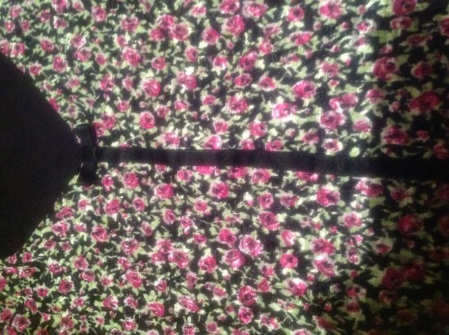 INC International Concepts Top Black with Hot Pink Purple Flowers