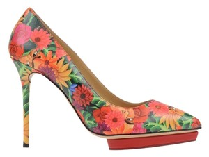 Charlotte Olympia Platform Red Orange Orange/Red Pumps