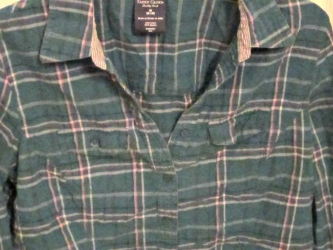 Faded Glory Button Down Shirt Blue/Green