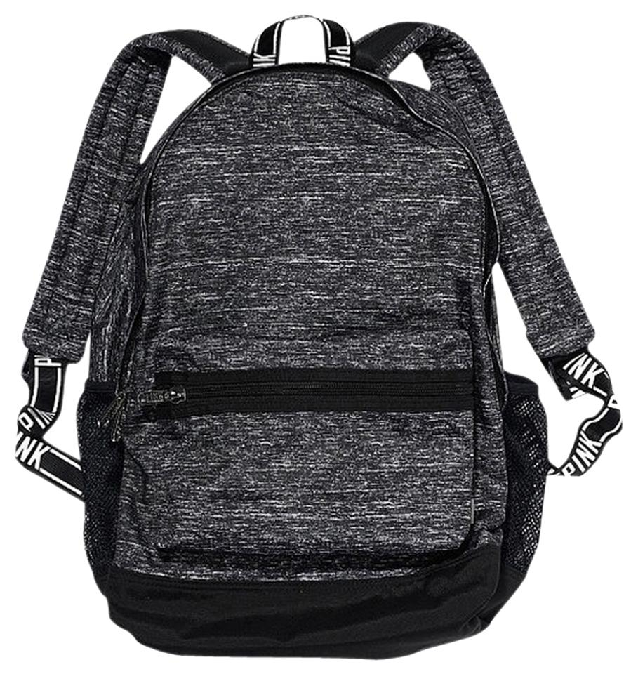 f3634dfa65f0d PINK Victorias Secret Campus Grey Marl Black Backpack