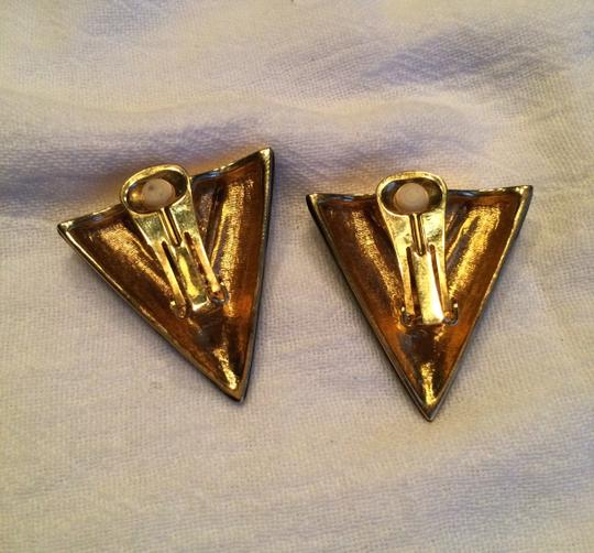 Other Black Triangle and Rhinestones Clip on Earrings