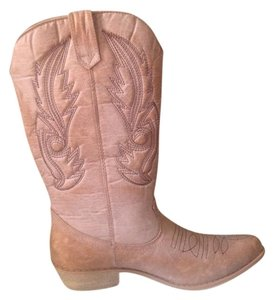 Coconuts Western Cowboy Midcalf Distressed Tan Boots