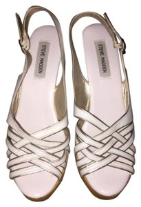 Steve Madden White with gold detail. Wedges