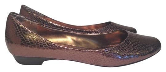 Chinese Laundry Snakeskin Boa Metallic Copper Flats