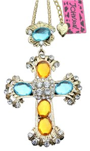 Betsey Johnson Betsey Johnson Necklace Cross Crystals Blue Yellow Gold Large Pendant J1049