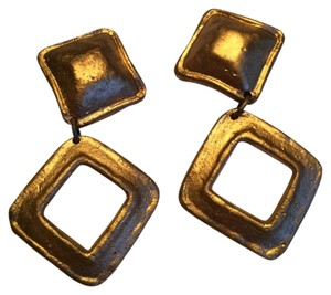 Other Square Matt Gold Clip On Earrings