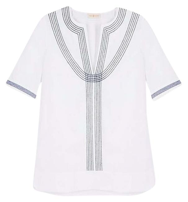 Preload https://img-static.tradesy.com/item/4187965/tory-burch-blue-white-embroidered-poplin-relaxed-tunic-size-4-s-0-1-650-650.jpg