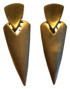 Pointy Pyramid Matte Gold Clip On Earrings