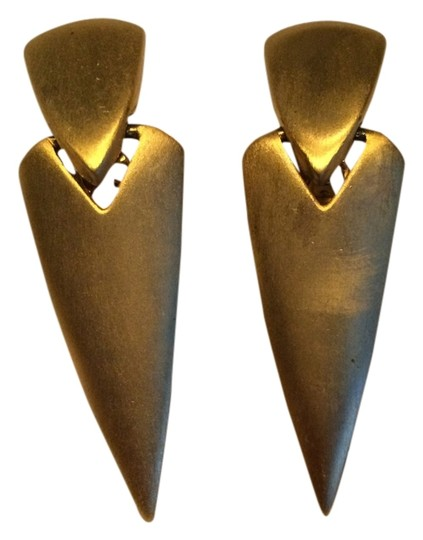 Other Pointy Pyramid Matte Gold Clip On Earrings