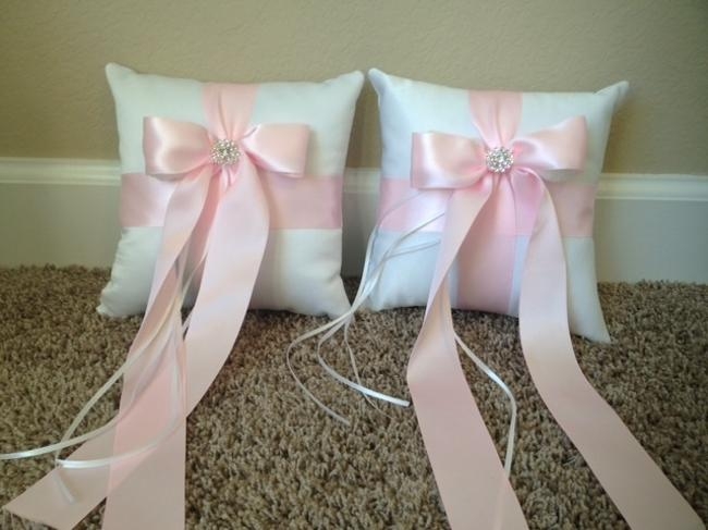 Item - White and Pink Ring Bearer Pillows