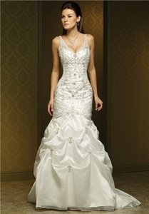 Mia Solano Ivory Organza M1091l Traditional Wedding Dress Size 10 (M)
