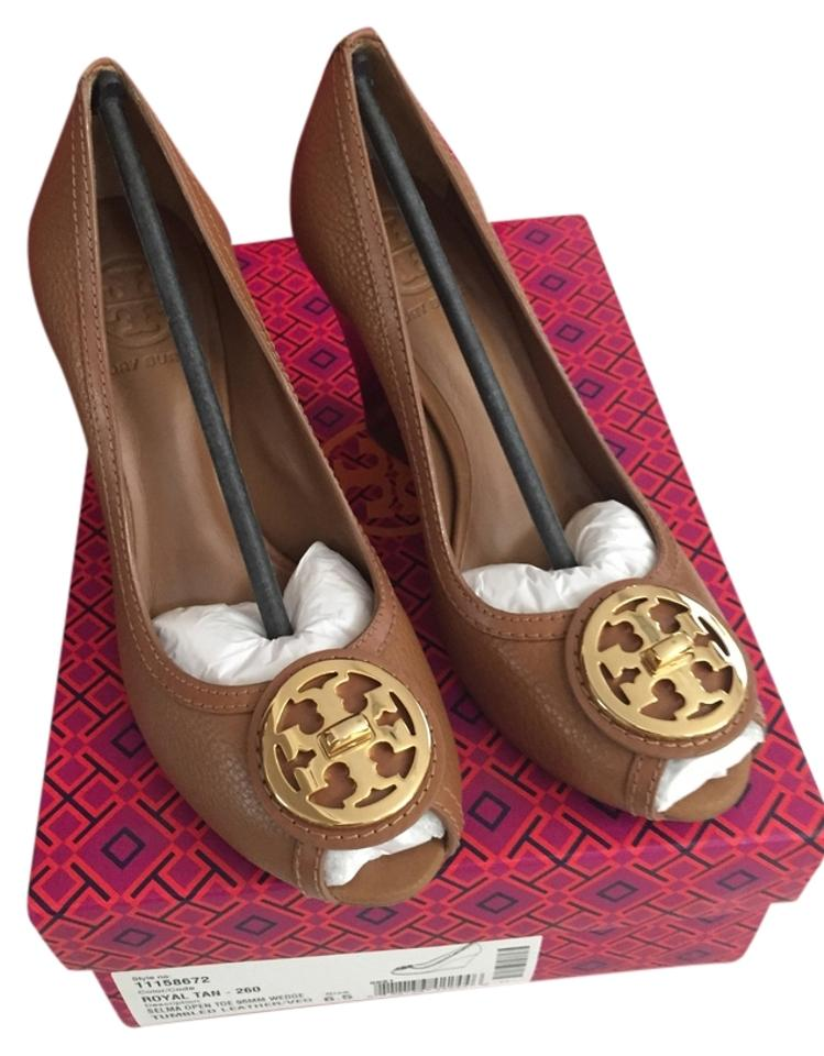 Tory Burch Royal Tan Selma Open Toe 95mm Style No Wedges 11158672 260 Tumbled Leather Wedges No 63243e