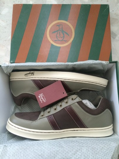 Original Penguin by Munsingwear Mens Leather Sneakers Brown/Grey Athletic