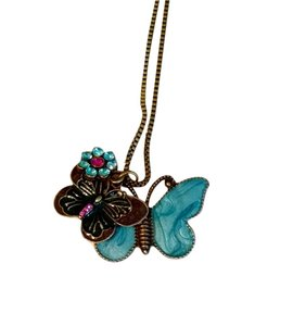 New Butterflies Pendant Necklace Antiqued Gold Charms J1060