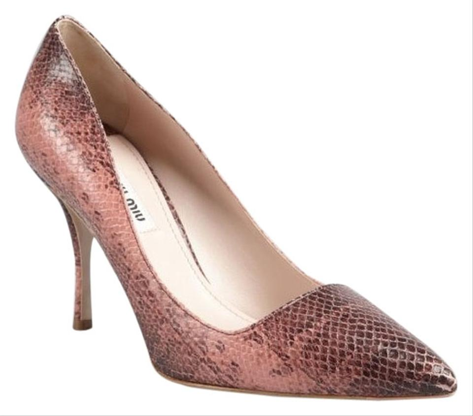 2d71b98c28 Miu Miu Pink Camellia Snakeskin Pointed Pumps Size US 6 Regular (M ...