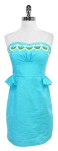 Lilly Pulitzer short dress Aqua Embroidered Cotton on Tradesy