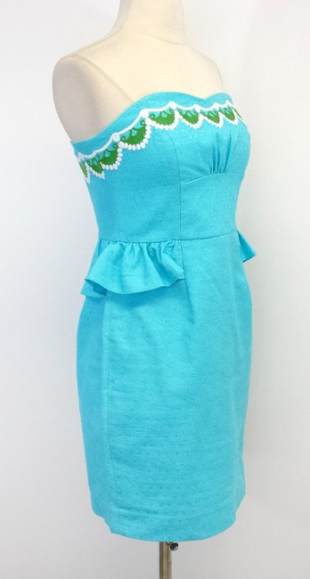 Lilly Pulitzer short dress Aqua Embroidered Cotton Strapless on Tradesy