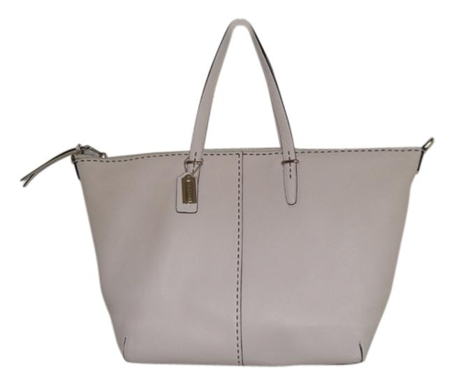 Item - Bleecker Cooper Stitched Pebbled Satchel Sv/Parchment Leather Tote