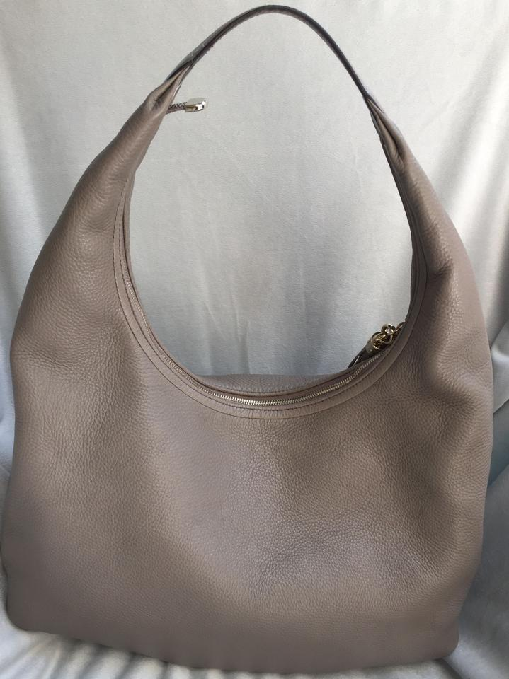 7a8c9a3a5 Gucci Soho Embossed Interlocking G and Tassels Large Gray Shoulder Taupe  Leather Hobo Bag - Tradesy