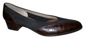 Salvatore Ferragamo Leather Suede Reptile black & brown Pumps