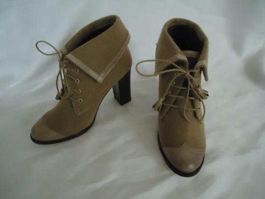 Vkingas Canvas Leather Tassels Beige Boots