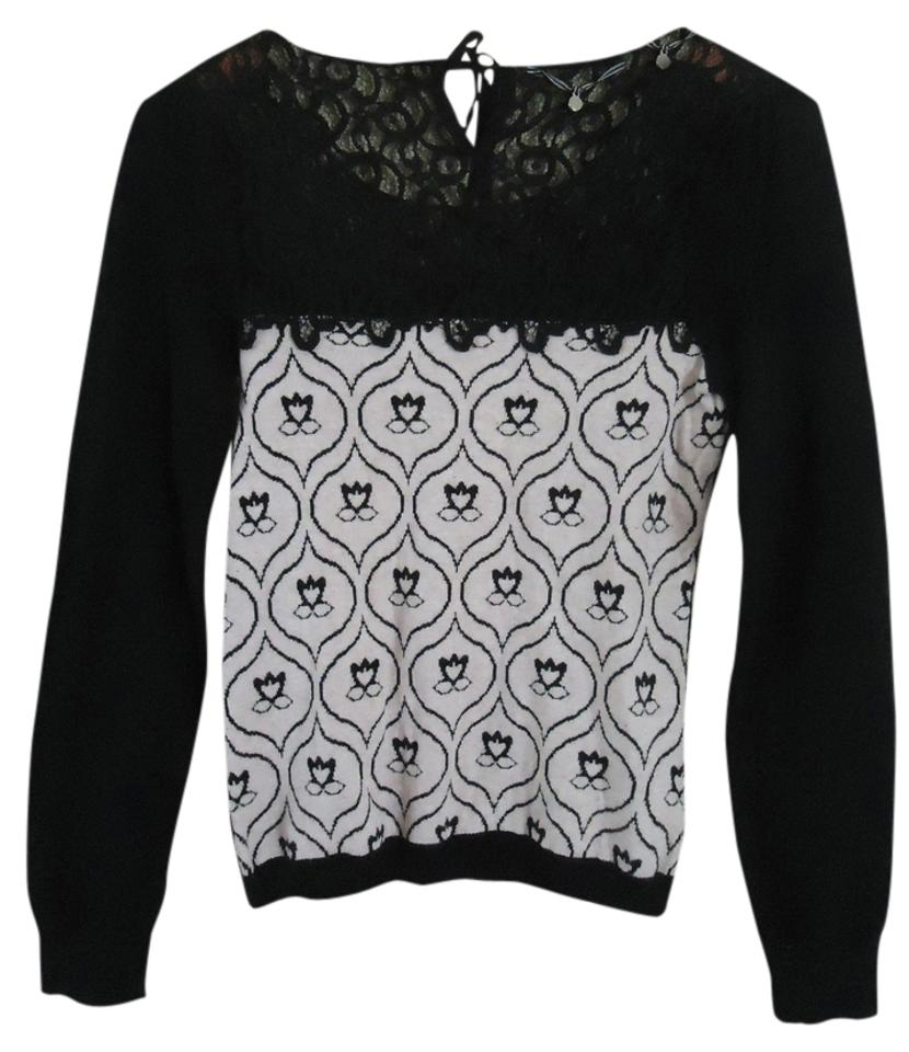 721c40a0bff3 Anthropologie Knitted Knotted Lace Detail Black and Pink Sweater ...