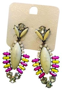 Bib Earrings Long Dangle Pink Yellow Black White 2.5 in. J1068