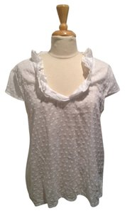 Talbots Applique Ruffle T Shirt White