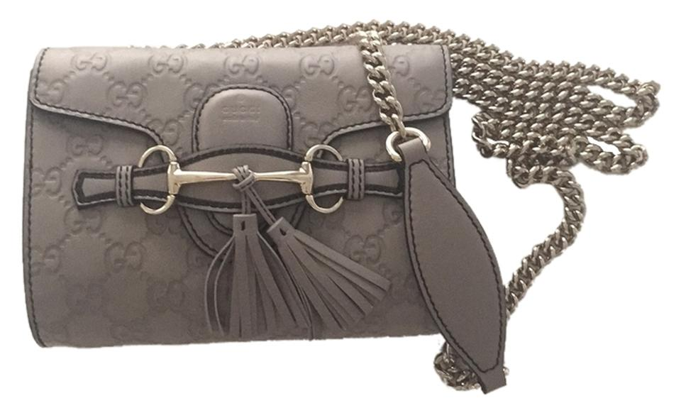 1d09ebf6e68b Gucci Shoulder Emily Mini Guccissima Leather Grey Calfskin Cross Body Bag