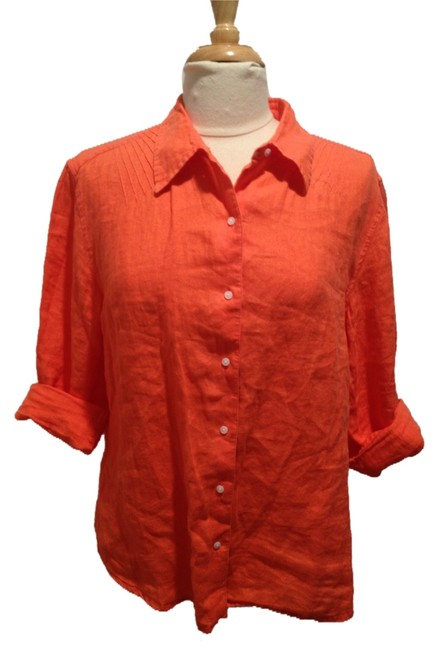 Talbots Linen Button Down Shirt Orange