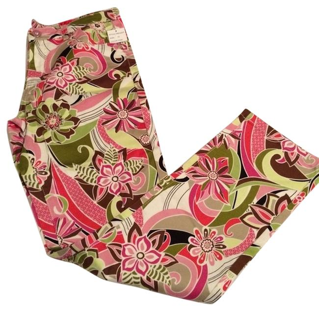 Item - Pink Green Brown Black & White Floral Light Wash Ankle Length Skinny Jeans Size 32 (8, M)